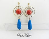 Retro Circle//Hoop Dangle Earrings//Red And Blue Bead Pierced Earrings