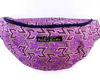 Bumbag Fanny pack Hip bag in Lilac, gold & purple with Gold Z-print detail, African fabric