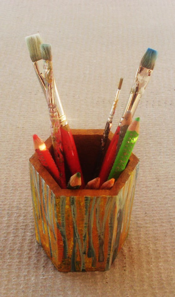 "Pencil holder made of wood - Totally hand painted ""Beech Forest"""