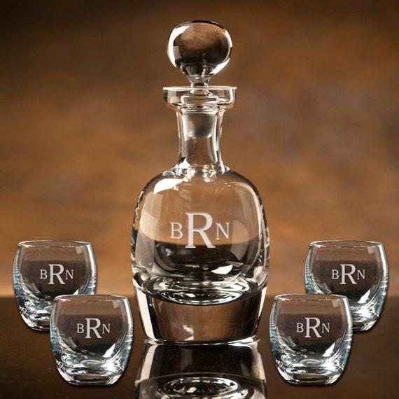 scotch whiskey decanter set 4 roly poly glasses  u0026 free