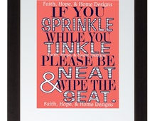 Chevron Coral and Navy If you sprinkle while you tinkle bathroom wall art print Poster 8x10 Digital Download Printable e-Print