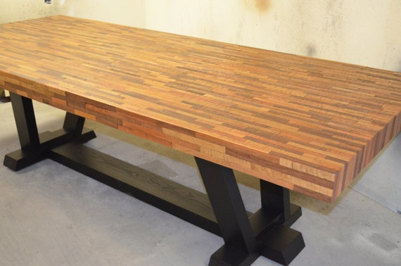 Mixed wood dining room table by metaltreefurniture on etsy for Dining room tables etsy
