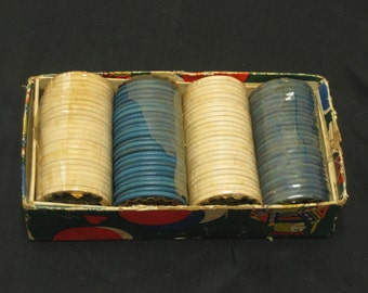 Vintage Play m Well Wooden Poker Chips in Box