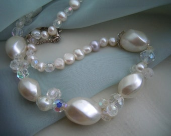 Ivory Freshwater Pearl Choker clustered Faceted Swarovski Stones