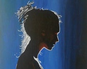 Painted Lady Silhouette by Pamela Henry unique painting blues