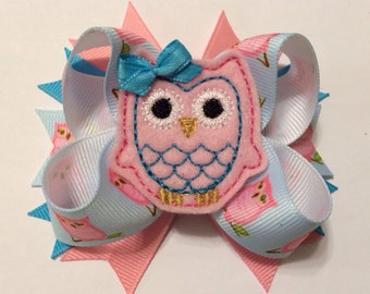 Sweet Pink Felt Owl Bow - Embroidered Owl - Pink and blue Bow - Owl Feltie - Owl Hairbow - Owl Ribbon - Hairbows for girls
