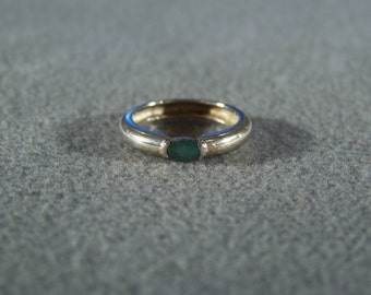 Vintage Sterling Silver Oval Emerald  Classic Wedding band ring, size 5      W