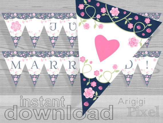 Printable Just Married Banner - printable car sign - romantic banner - blue white with pink roses and hearts - download car sign
