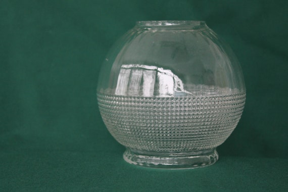 Vintage clear glass lampshade, pressed glass, ribbed body replacement shade,lamp part,