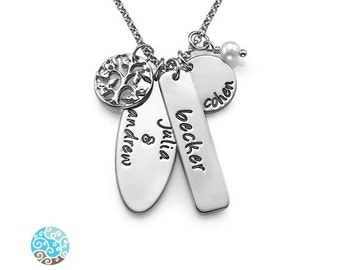 Personalized Family Tree Necklace in Sterling Silver