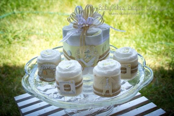 Gender Neutral Diaper Cake _ Diaper Centerpiece - Gender Neutral Diaper Cake - Baby Shower Cake - Baby Shower Centerpiece - Welcome Baby