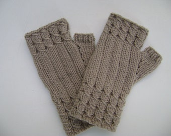 Stone Colour Fingerless Gloves.Fingerless Mittens. Hand warmers. Wrist warmers. Hand Knit.