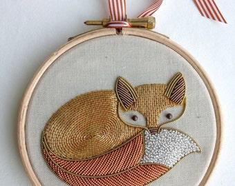 Metalwork Embroidery Fox Kit