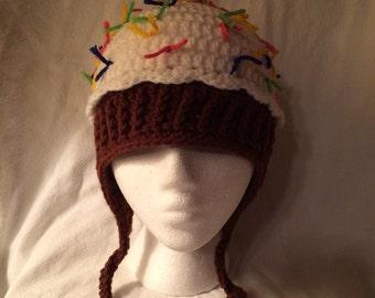 Vanilla/Chocolate cupcake hat - adult size