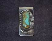 Handmade Sterling Silver and Turquoise Money Clip