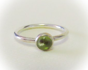 5mm Peridot Cabochon, Handmade Sterling Silver Stack, August Birthstone, Stack Ring, Mothers Stack Ring, Olivine Stack Ring