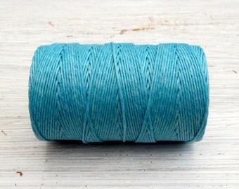 Sky Blue 4ply Irish waxed linen cord 4ply (10 yards) - turquoise linen cord, irish waxed linen cord, irish waxed linen thread, uk