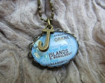 Orkney Islands, Scotland map necklace with initial