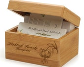 Bamboo Recipe Box Custom Engraved Custom Design Family, Wedding, Secret Recipes -  Recipe Box - Bamboo - Recipe Card Dividers