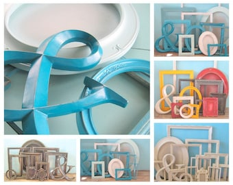 Custom Made Ampersand and FRAME SET/ Wall Collage/Shabby White/ Mix of Colors/ Upcycled/ Wedding Frames/ Nursery Decor Picture Frames
