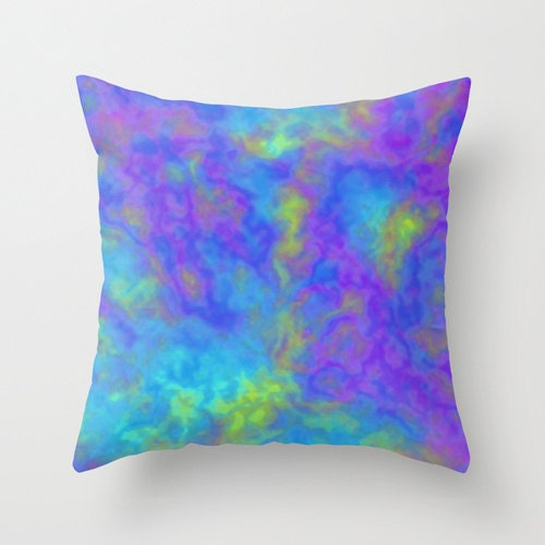 Blue Purple Throw Pillows : Psychedelic Pillow WITH Insert Purple Blue Throw Pillow Case