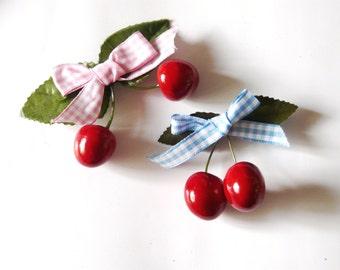 Cherry Hairbow Rockabilly Psychobilly Hair Bow Accessory Clip Cherries