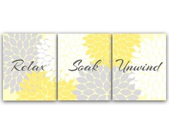 Bathroom Art Relax Soak Unwind Instant Download Set Of 3 Bath Art Prints