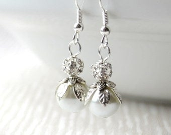 Custom color bridesmaids earrings Bridesmaids jewelry Pearl and rhinestones jewelry Bridesmaids gifts Flower girls gifts