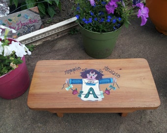 Hand Painted Raggedy Ann Step Stool