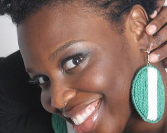 Nigerian Flag HypnoEars Plastic Canvas  Earrings
