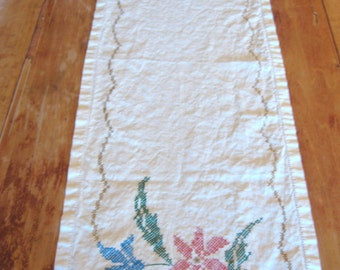 Vintage Handpainted Linen Floral Runner 14 by 37 inches blue green red flowers