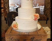 "14"", 16"" & 18"" Rustic Cake Stand, Love is Sweet, Table Centerpiece, Wood Cake Stand, Wedding Cake Stand, Rustic Wedding, Wedding Table"