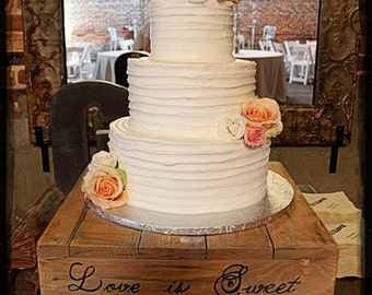 "14"", 16"" & 18"" Rustic Cake Stand, Love is Sweet, Table Centerpiece, Wood Cake Stand, Wedding Cake Stand, Rustic Wedding, Wedding Planner,"