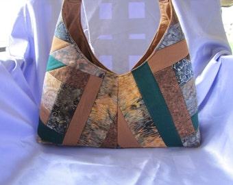 Brown and Green Shoulder Bag
