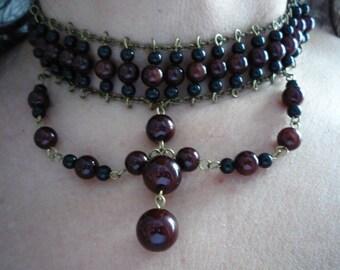 Vintage Victorian Style Bordeaux Black Bead Choker Necklace