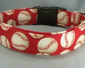 Red Baseball Dog Collar