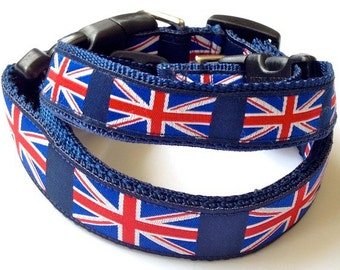 PREPPY UNION JACK Dog Collar -Leash Sold Separately