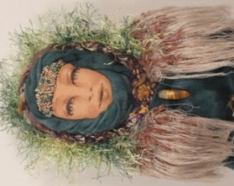 Wise Woman, fabric art figure, OOAK