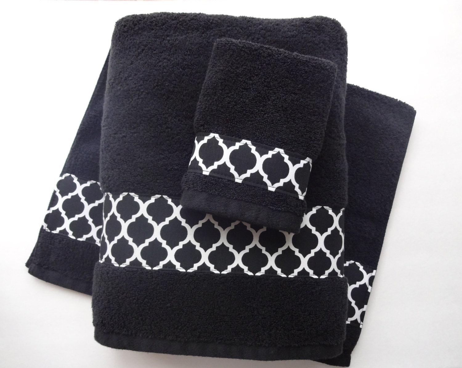 You pick size bath towels hand towels bath towels sets for Black and white bathroom sets