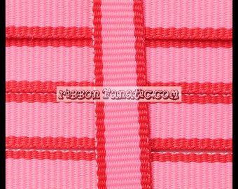 """SALE 50% OFF!!  10 yds 3/8"""" Pink and Red Lollipop Stripe Grosgrain Ribbon Valentine's Day"""
