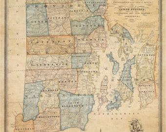 Rhode Island 1831 Map with early Placenames - by J. Stevens   Old Map Reprint