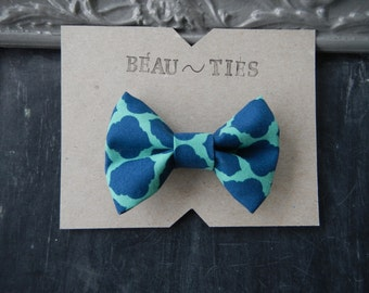 Baby Boy Toddler clip-on bow tie Blue and Teal