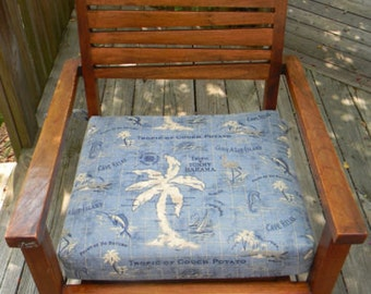 "Indoor / Outdoor  19"" x 19"" Foam Universal Chair Seat Cushion with ties - Tommy Bahama Fabric - Choose Fabric Pattern"