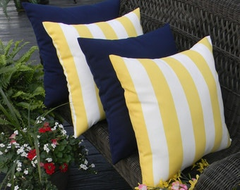 "SET OF 4 Pillow Covers - 20"" Yellow and White Stripe & Solid Dark Blue / Navy Indoor / Outdoor Decorative Pillow Covers"