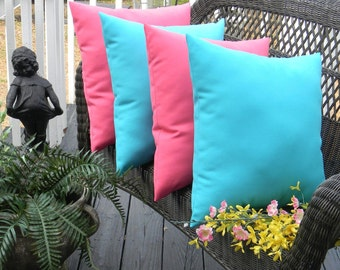 "SET OF 4 - 20"" Indoor / Outdoor Throw Pillows -  Solid Cancun Blue & Solid Pink Decorative Pillows"