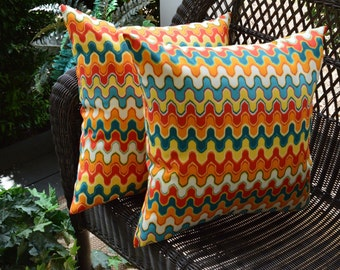 "Set of 2 Pillow Covers ~ 17"" Square Geometric Flame Stitch Red Orange Teal Yellow Indoor / Outdoor"