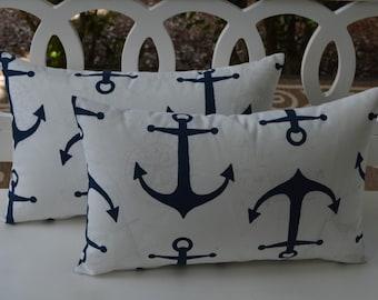 Set of 2 Rectangle / Lumbar ~ Navy Blue Nautical / Coastal Anchor Print Indoor / Outdoor Decorative Throw Pillows