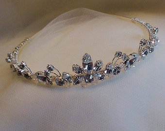 Handmade bridal wedding tiara Swarovski diamante and clear crystals