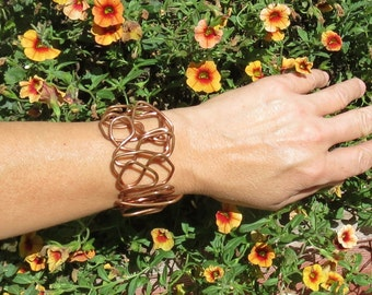 Copper Bracelet  Easy On Off Clasp, Rustic Wrap Jewelry, Adjustable XXSmall to XX Large,, Made in Jackson Hole, Wyoming
