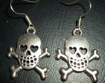 Silver Skull and crossbone dangle earrings, Heart eyes on silver french hooks. Arrives gift wrapped, sugarbearproductions